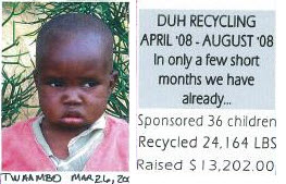 Twambo, one many children sponsored through the DUH Recycling program