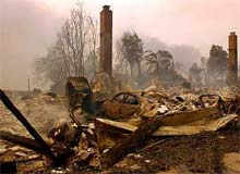 One of the more than 300 homes destroyed by the fires